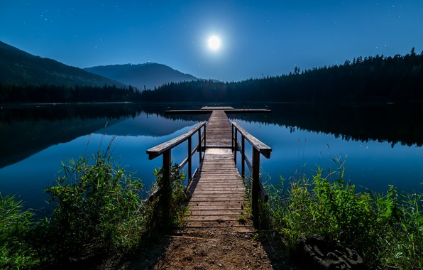 Picture the sky, landscape, mountains, night, nature, lake, the moon, stars, pier, Canada, forest, Bank, mostok
