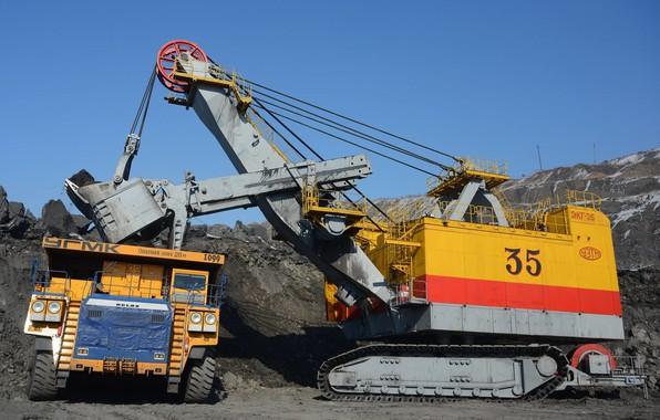 Picture Russia, excavator, quarry, dump truck, loading, the technological process, BelAZ, ECG-35