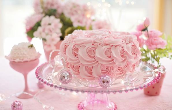 Picture flowers, pink, ball, cake, garland, cake, cream, pink, flowers, sweet, cream