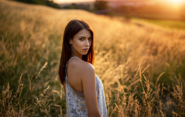 Picture field, grass, look, the sun, nature, model, portrait, makeup, dress, hairstyle, brown hair, beauty, bokeh, …