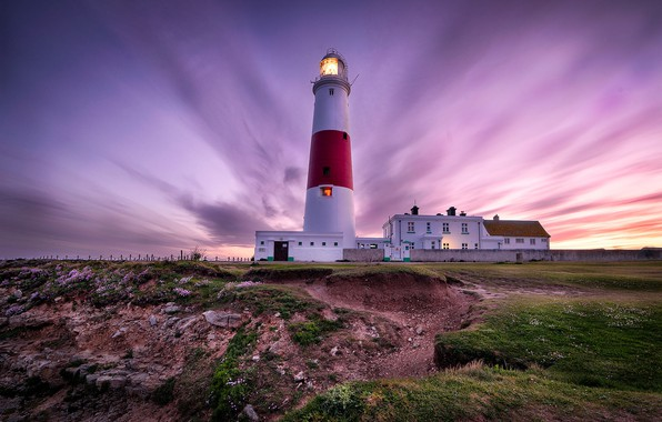 Picture landscape, sunset, nature, coast, lighthouse, England, Portland