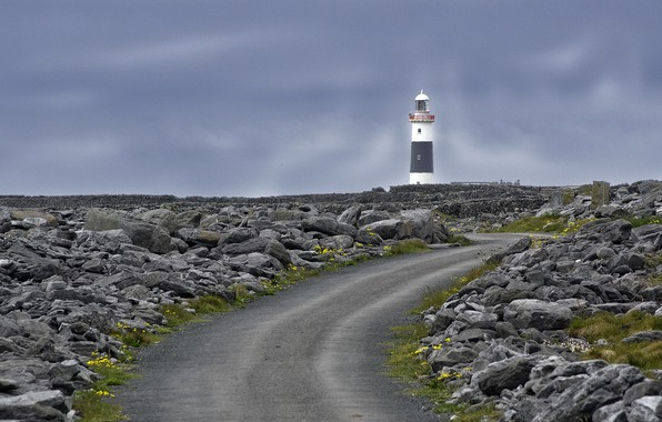 Picture road, stones, lighthouse, Ireland, Aran Islands