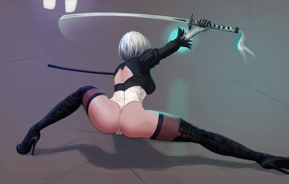 Picture erotic, ass, girl, feet, robot, sword, art, heels, ass, cyborg, YoRHa No.2 Type B, nier …