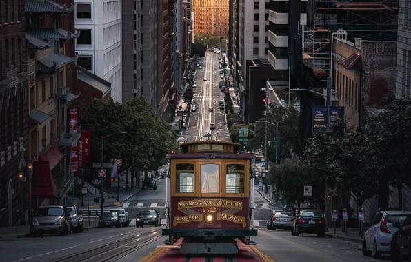 Picture light, machine, street, home, CA, San Francisco, tram, USA