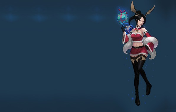 Picture holiday, gift, new year, anime, art, horns, suit, O GOK, christmas girl!