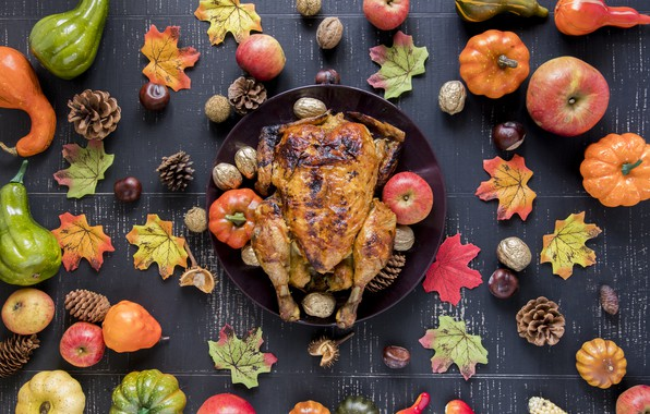 Picture autumn, leaves, background, apples, chicken, colorful, pumpkin, fruit, nuts, maple, vegetables, bumps, wood, autumn, leaves, …