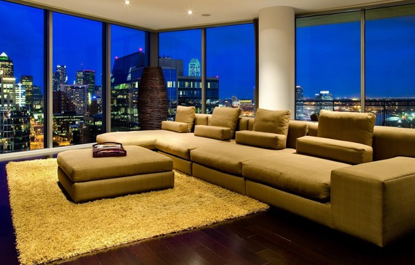 Picture lights, windows, landscape, night, interior, sofa, buildings, skyscrapers, cityscape, couch, Living room