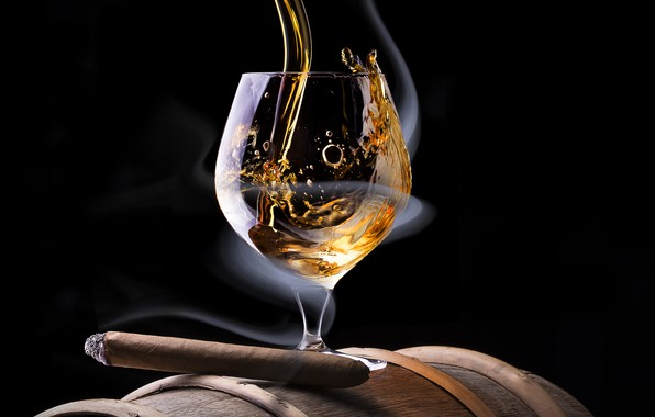 Picture smoke, glass, alcohol, cigar, black background, barrel, jet
