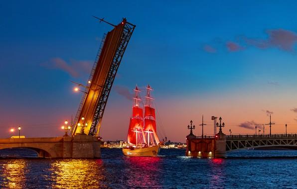 Picture night, bridge, the city, river, ship, sailboat, Peter, lighting, lights, Saint Petersburg, Neva, Scarlet sails, …