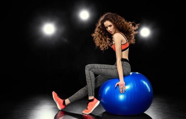 Picture look, girl, light, blue, pose, the ball, sneakers, shadow, makeup, figure, slim, hairstyle, brown hair, …