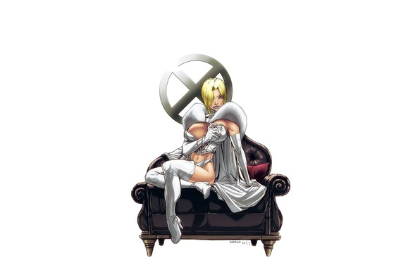 Picture girl, fantasy, cleavage, X-Men, minimalism, breast, blue eyes, Marvel, comics, coat, blonde, Emma Frost, sofa, …