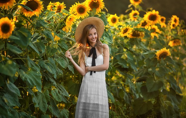 Picture field, summer, girl, sunflowers, smile, mood, hat, Anastasia Barmina