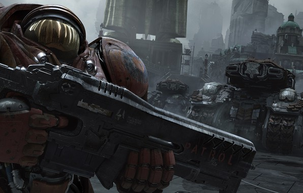 Picture the city, the suit, starcraft, rifle, tanks, strategy, Marines, heart of the swarm, Terran, terrans, …