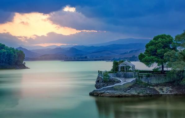 Picture trees, mountains, lake, the evening, Spain, gazebo, Spain, Malaga, Malaga, The Jet, El Chorro, Conde …