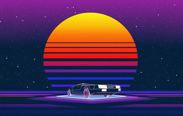 Picture The sun, Music, Machine, Star, Style, Background, 80s, Style, Neon, Illustration, 80's, Synth, Retrowave, Synthwave, …