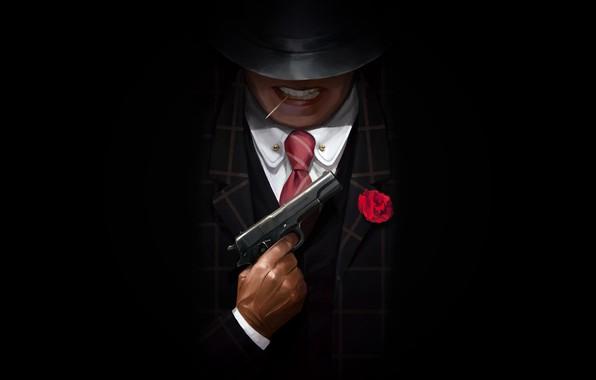 Picture Minimalism, Gun, Background, Art, Illustration, Gangster, Mafia, Vladimir Malakhovskiy, by Vladimir Malakhovskiy