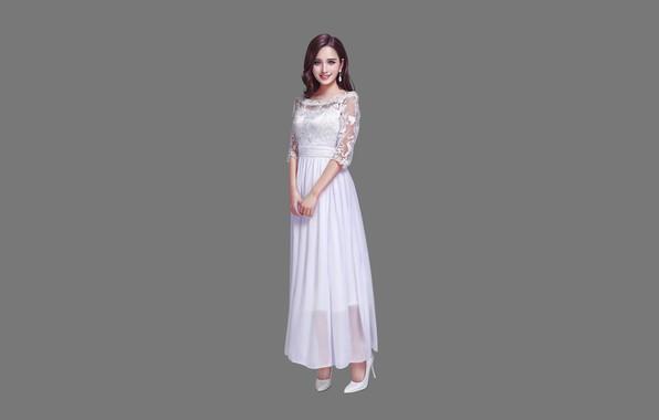 Picture Girl, Beautiful, Sexy, Art, Asian, Smile, Style, Minimalism, Dress, Figure, HL Z