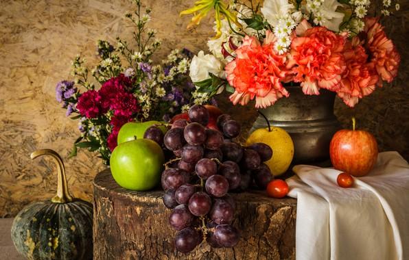 Picture flowers, apples, bouquet, grapes, pumpkin, fruit, still life, vegetables, pear, flowers, fruit, grapes, still life, ...