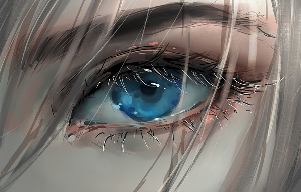 Picture girl, art, blue eyes, face, blonde, digital art, artwork, eyelashes, Eye