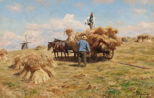Picture 1918, Danish painter, Peter Merk Of Menstad, Peder Mørk Mønsted, Danish realist painter, Harvesting in …