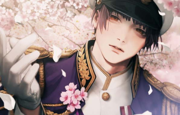 Picture face, Japan, gloves, guy, cap, military uniform, shoulder straps, jacket, Axis powers hetalia and Axis …