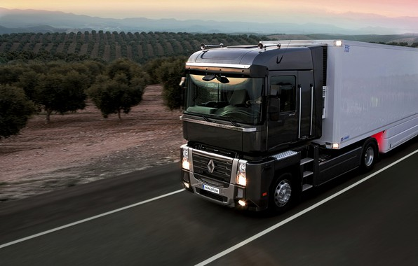 Picture road, sunset, black, truck, Renault, Magnum, tractor, 4x2, the trailer, Renault Trucks