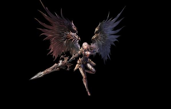 Picture Girl, Fantasy, Beautiful, Art, Warrior, Minimalism, Sword, Wings, Armor, Eron Kim, With - Warrior