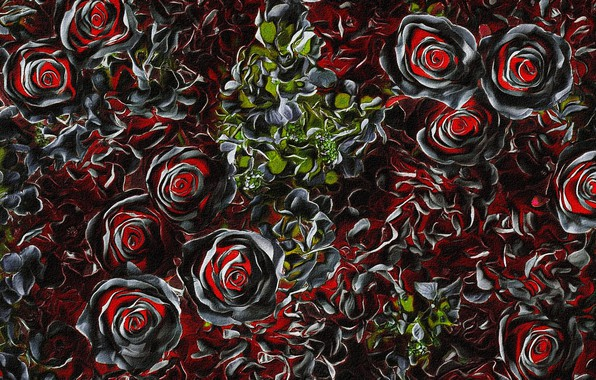 Picture leaves, flowers, night, abstraction, rendering, Wallpaper, figure, picture, canvas, rose Bush, acrylic paint, screensaver for …