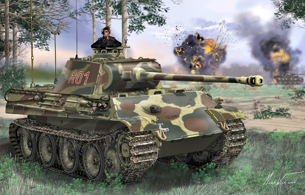 Picture Grass, Germany, Panther, Pine, Tank, Panther, WWII, Tanker, Pz.Kpfw.V ausf G, Command tank