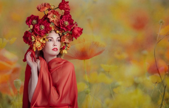 Picture girl, flowers, Florence Rapati