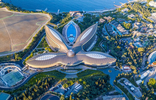 Picture sea, coast, the building, panorama, Russia, architecture, Crimea, Yalta, The black sea, Landslide, Mriya Resort …