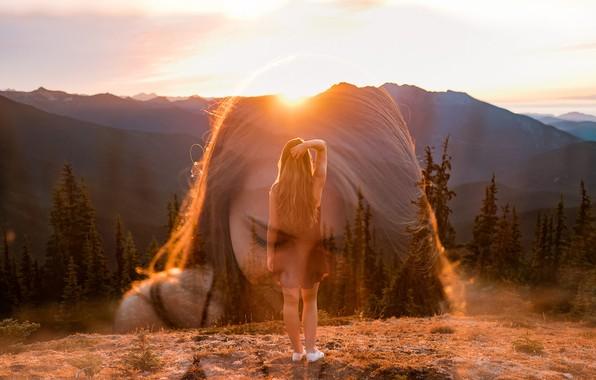 Picture girl, the sun, sunset, mountains, Isaac Gautschi
