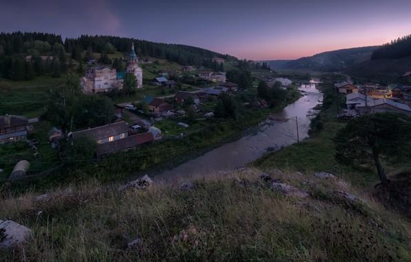 Picture landscape, sunset, nature, river, hills, village, the evening, Church, forest, Bank, Ural, Perm, Andrei