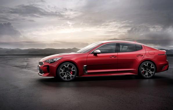 Picture red, profile, Kia, the five-door, Stinger, Stinger GT, fastback