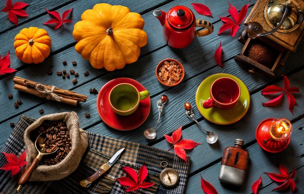 Picture leaves, style, coffee, candle, kettle, knife, pumpkin, mugs, cinnamon, compass, coffee beans, spoon, coffee grinder, …