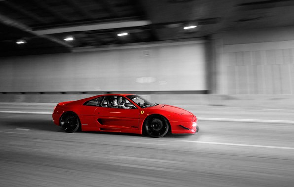 Picture Ferrari, Red, Speed, F355, Tunnel, Black & White