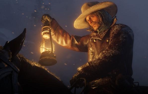 Picture snow, horse, hat, lantern, Rockstar, Bandit, Red Dead Redemption 2