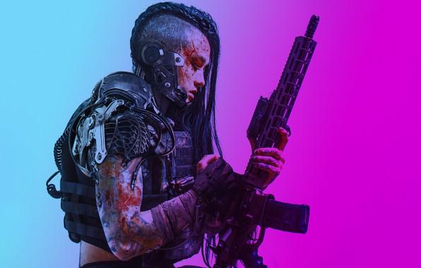 Picture art, warrior, futuristic, robotics, shaved hair