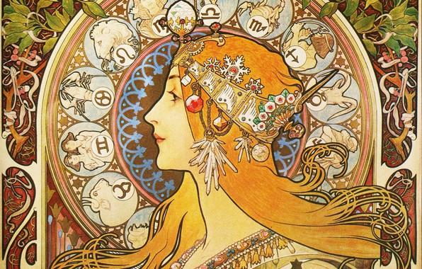 Picture figure, painting, Zodiac, Alphonse Mucha, Alfons Maria Mucha, female image