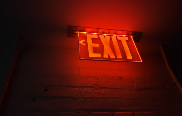 Picture Red, Wall, Sign, Exit