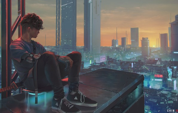 Picture haircut, skyscrapers, guy, sneakers, the view from the top, on the roof, city lights, panorama …