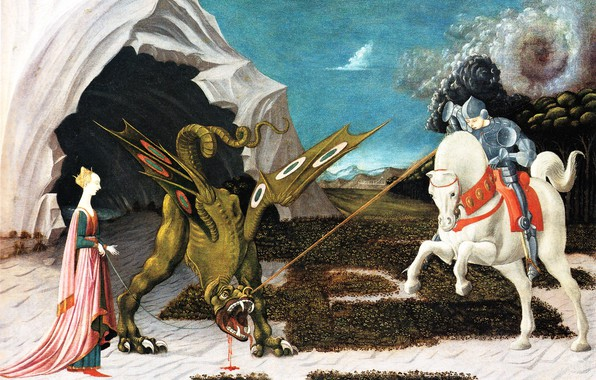 Picture tale, picture, myth, Paolo Uccello, St. George the Princess and the dragon, Paul Bird