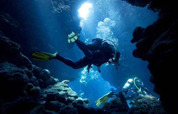 Photo Wallpaper Sea Light Bubbles Blue Stones Rocks Underwater World