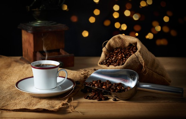 Picture coffee, Cup, still life, burlap, coffee beans, pouch, coffee grinder, scoop