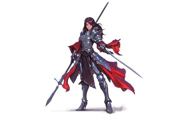 Picture girl, sword, fantasy, armor, red eyes, brunette, weapons, digital art, artwork, warrior, fantasy art, Knight, …