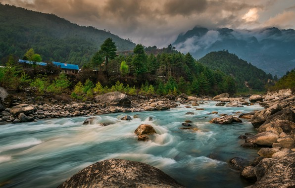 Picture forest, clouds, mountains, river, stones, shore, Switzerland, houses