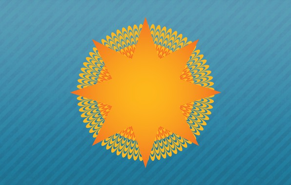 Picture The sun, Minimalism, Rays, Background, Art, Illusion, Optical illusion