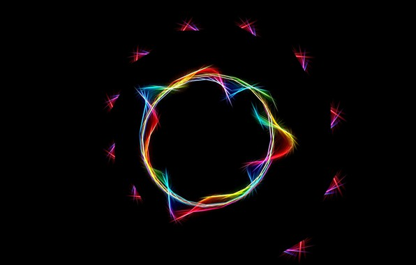 Picture abstraction, minimalism, spiral, sphere, black background, neon light, bright flashes