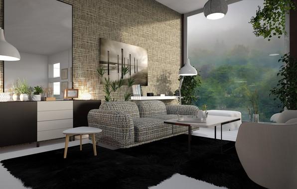 Picture lamp, room, sofa, interior, carpet, picture, mirror, window, table, living room, stool