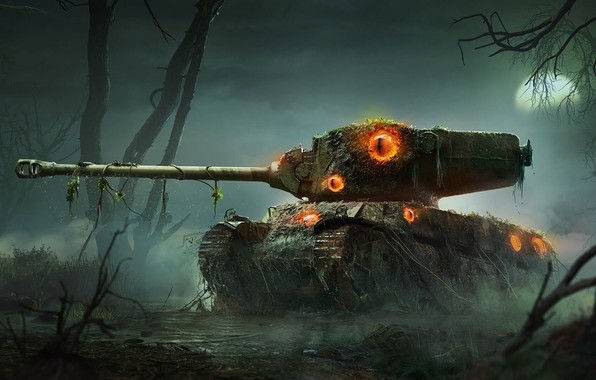 Picture The moon, Dirt, Eyes, Halloween, Swamp, Tank, World of Tanks, Wot, Goblin